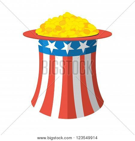 Uncle Sam Hat And Gold. Cylinder Uncle Sam And Gold Coins On White Background. American Hat And Mone