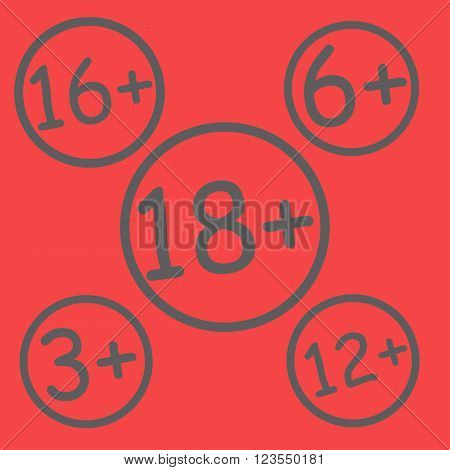 Red age restriction signs. Age limit sign. Vector illustration