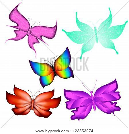 Multicolored butterflies isolated made ??using a gradient mesh