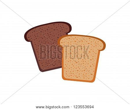 Bread design flat isolated white. Bakery and bread isolated, food healthy, meal loaf and toast breakfast, nutrition bake and baguette natural and snack cereal, lunch culinary vector illustration