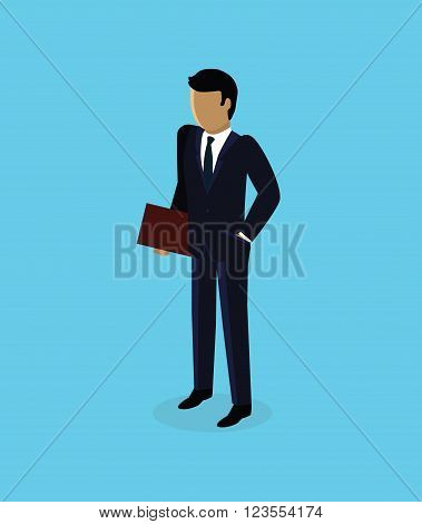 Isometric 3d businessman icon design. Business man isolated, isometric businessman, unrecognizable success man, isometry human, 3d manager faceless illustration. Man standing with folder in hands
