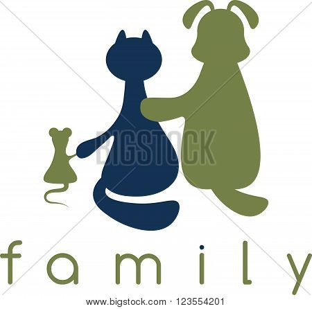 Dog ,cat And Mouse Hugging With Love Vector Illustration