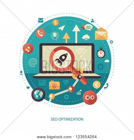 Modern flat design SEO optimization business, start up vector infographics illustration with a rocket on a laptop screen, robot arm and magnifying glass