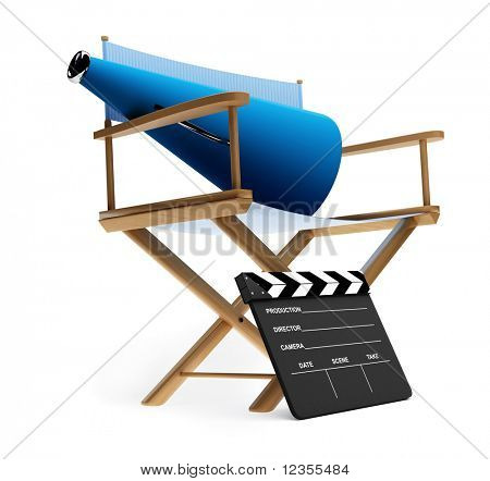 Director's chair, megaphone and clapboard