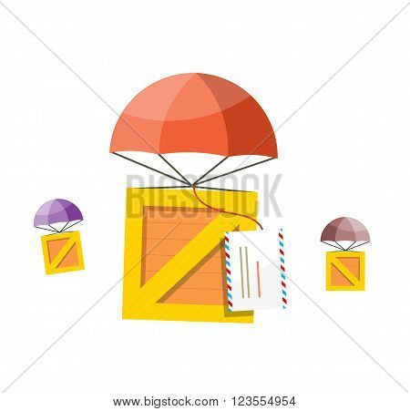 Delivery box. Air mail parachute. Air mail parachute sky, transportation delivery, shipping package delivery, cargo service, moving delivery parcel vector illustration. Box descends on parachute