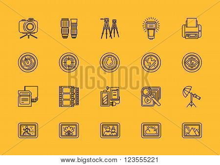 Set of photographic equipment thin, lines, outline, strokes icons. Elements of photo processing. Digital camera with pictures and modes, photo items. For web and mobile applications. Black on yellow