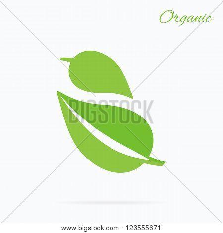 Organic logo green leaf design flat. Nature leaf logo, organic label eco, natural leaf plant, bio health label vector illustration