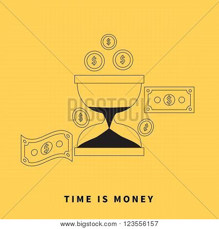 Time is money concept. Hourglass coins. Business currency and clock, dollar saving, watch and cash, sandwatch and monetary. Time management vector illustration. Black thin line on yellow background