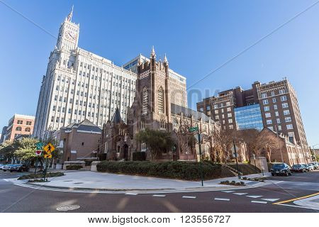Jackson, Ms/usa - Circa February 2016: Lamar Life Building And St Andrew's Episcopal Cathedral In Do