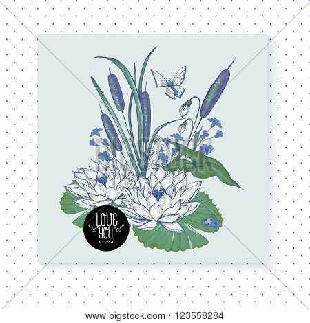Vintage pond water flowers vector greeting card, Botanical shabby chic illustration reeds, butterfly, lily, ladybird wildflowers leaves and twigs Floral design elements.