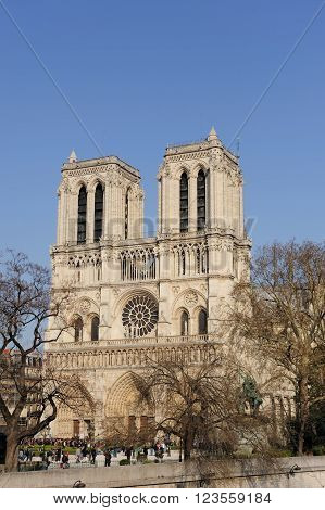 Notredame Cathedral on the bright blue sky day, France