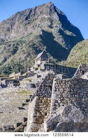 Machu Picchu, Aguas Calientes/peru - Circa June 2015: Terraces And Montana Machu Picchu Peak In  Per