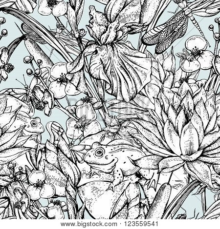 Vintage monochrome pond water flowers vector seamless pattern, Botanical shabby chic illustration iris, lily, frog, reeds, butterfly wildflowers dragonfly leaves and twigs