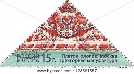 RUSSIA - CIRCA 2013: stamp printed in Russia shows a kerchief Trekhgornij Manufactory, cotton, Moscow, circa 2013.