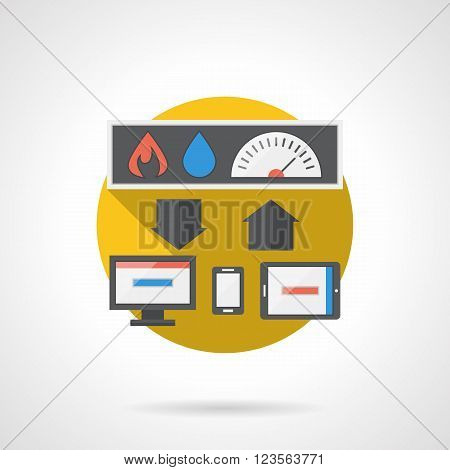 Computer gadgets to remote control home temperature, water and power. Home automation system. Smart home. Flat color style detailed single vector icon. Design element for website, mobile, business.