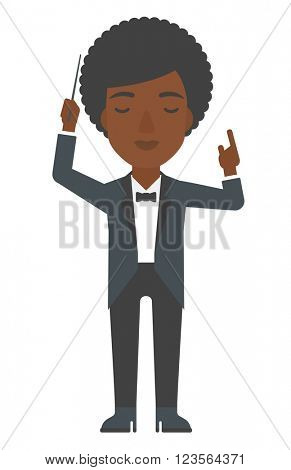Conductor directing with her baton. poster