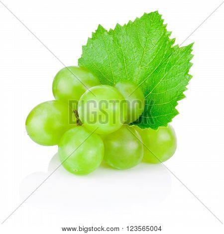 Fresh green grape with leaf isolated on white background