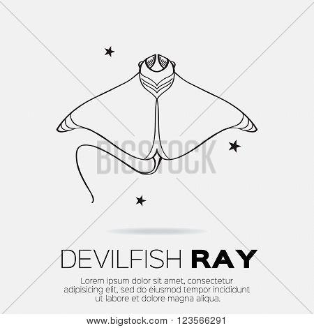 Devil fish ray. Vector silhouette of sea creatures.
