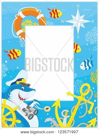Vector vertical frame border with a shark, a steering wheel, an anchor and a lifebuoy from a sunken ship