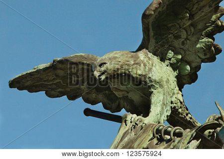 statue of an eagle as a symbol of eternal glory and heroism (close-up)
