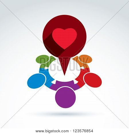Heart and society icon medical organization medical fund love theme vector conceptual special icon for your design.
