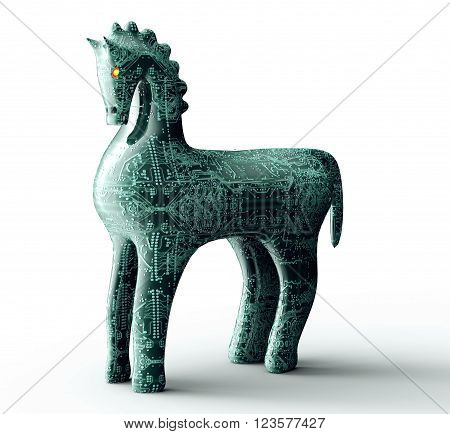 Safety Concept Computer Trojan Horse Isolated On White, 3D Illustration