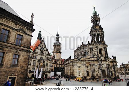 DRESDEN GERMANY - MAY 10: Street view of the Catholic Church of the Royal Court of Saxony (Katholische Hofkirche) on may 10 2013 in Dresden Germany.