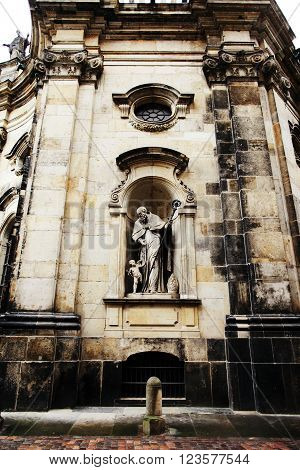 DRESDEN, GERMANY - MAY 10: Fragment of the Catholic Church of the Royal Court of Saxony (Katholische Hofkirche) on may 10, 2013 in Dresden, Germany.