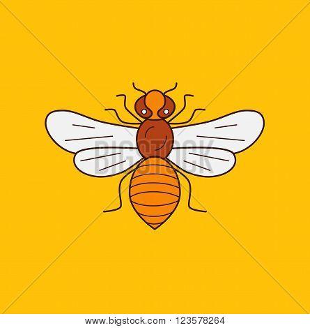 Honey bee icon illustration. Honey bee vector symbol. Bee icon for logo honey design. Outline style honey bee icon. Vector icon honey bee. Mead bee illustration