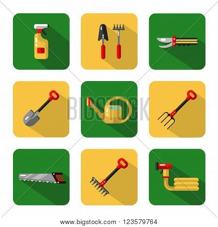 Vector icons set of garden work tools: secateurs, spray, watering can, shovel, rake, fork, saw. Vector flat style illustration with shadow.