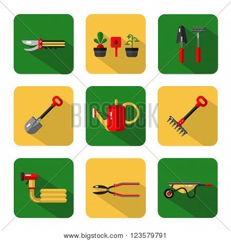 Vector icons set of garden work tools: secateurs, watering can, shovel, rake, garden cart, garden hose. Vector flat style illustration with shadow.
