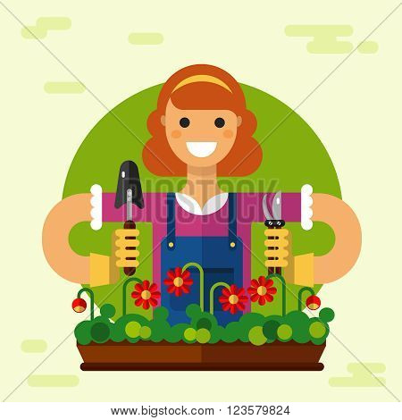 Vector flat style illustration of smiling girl gardening in gloves with shovel and pruner. Flowerpot with flowers. Gardening and agriculture concept.
