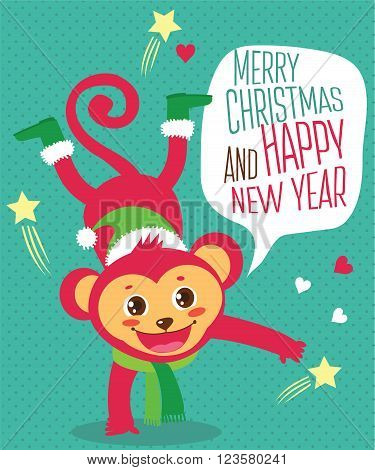 Funny Monkey Wished A Happy New Year. Christmas Character. Cartoon Vector Card. Cute Monkey Character. Monkey Santa. Isolated Vector. Cute Monkey Costume. Cute Monkey Doll. Cute Monkey Plush.