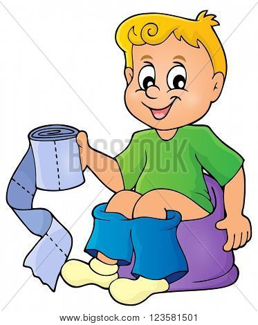 Boy on potty theme image 1 - eps10 vector illustration.