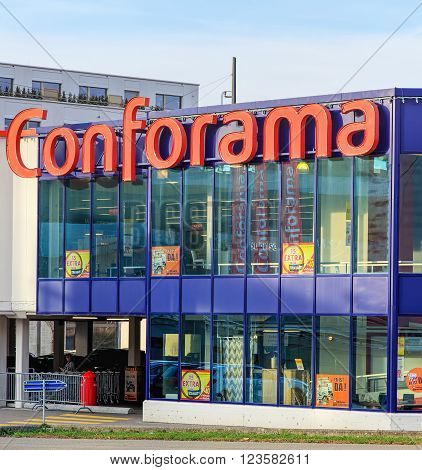 Wallisellen, Switzerland - 13 November, 2015: Conforama store building. Conforama is Europe's second largest home furnishings retail chain with over 200 stores in France, Spain, Switzerland, Portugal, Luxembourg, Italy and Croatia.