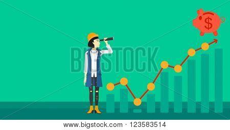Woman looking through spyglass at piggy bank.