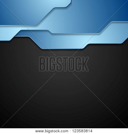Blue and black tech corporate background. Vector geometric technology dark graphic design