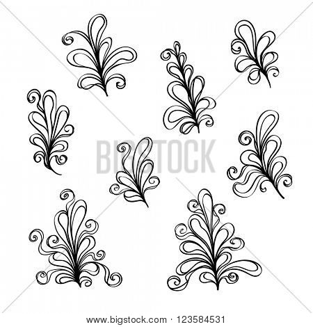 Set of Abstract flower ornaments.