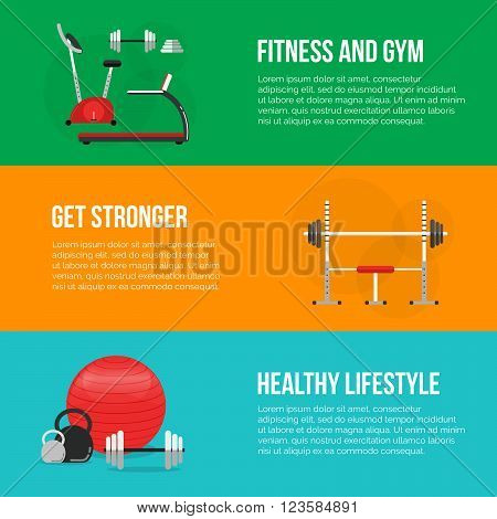 Fitness training and gym club concept set. fitness center banners. Fitness equipment. Gym concept. Fitness concept. Vector Sport background. Fitness and a healthy lifestyle concept. Sport inventory.