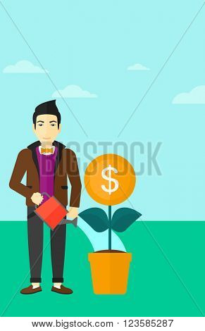 Man watering money flower.