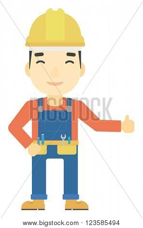 Builder showing thumbs up.