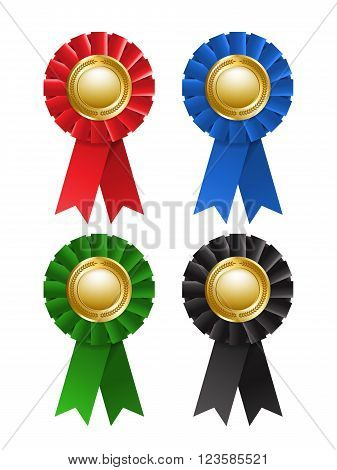 Set of award rosette isolated on a white background. Labels. Awards ribbons collection. Vector design element. EPS 10