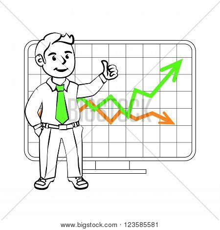The graphics in the vector. Happy SIM trader. Design for presentations showing success. Stock graph sales growth or the cost of the assets on the exchange.