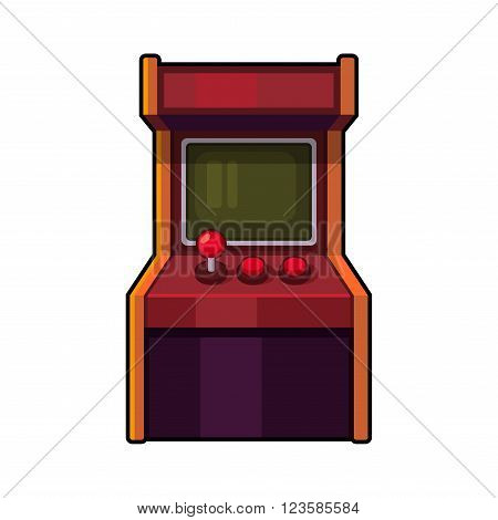 Classic Arcade Machine. Old Style Gaming Cabinet. Vector illustration