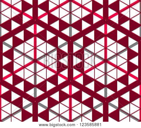 Geometric seamless pattern endless colorful transparent vector regular background. Abstract covering with 3d superimpose figures EPS10.