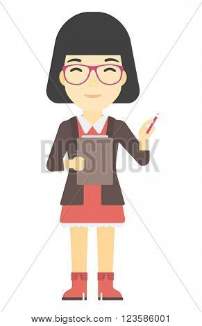 Woman standing with pen and file in hands.