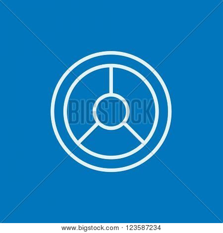 Steering wheel line icon.