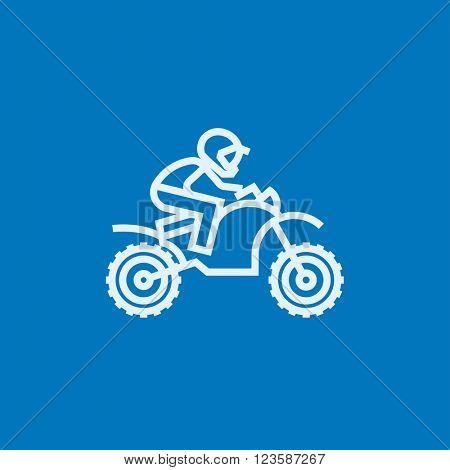 Man riding motocross bike line icon.