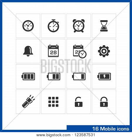 Mobile icon set. Vector black pictograms for web, computer apps, internet, interface design. clock, alarm, timer and bell, calendar, date, time and ringtone symbol