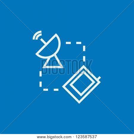 Navigator and satellite dish line icon.